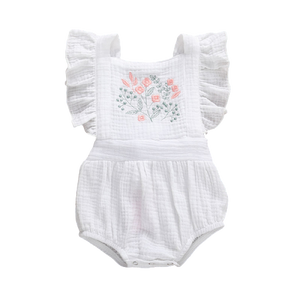 Skye floral embroidered romper ♥ size 3m - 18m