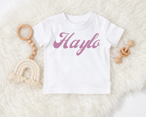Retro font personalised tee
