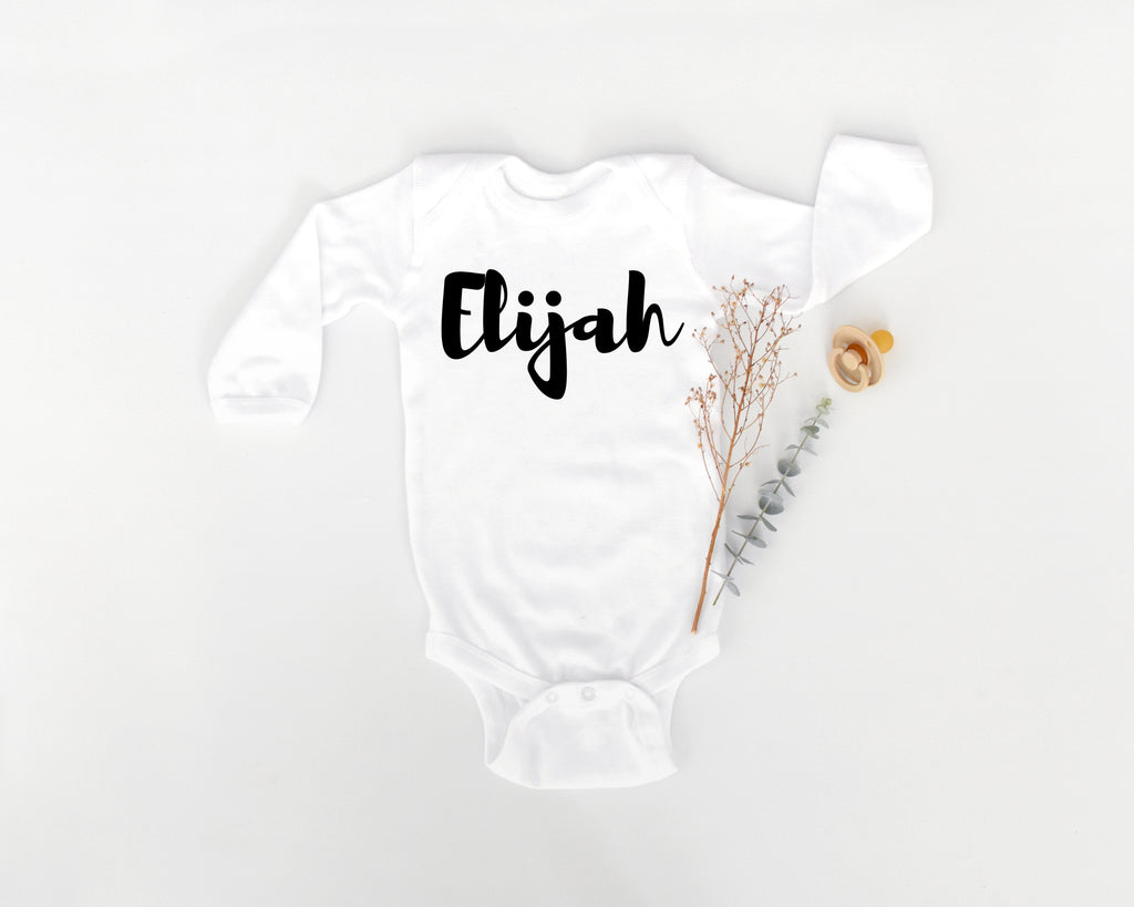 Brush font personalised long sleeve bodysuit • size 0000 - 1