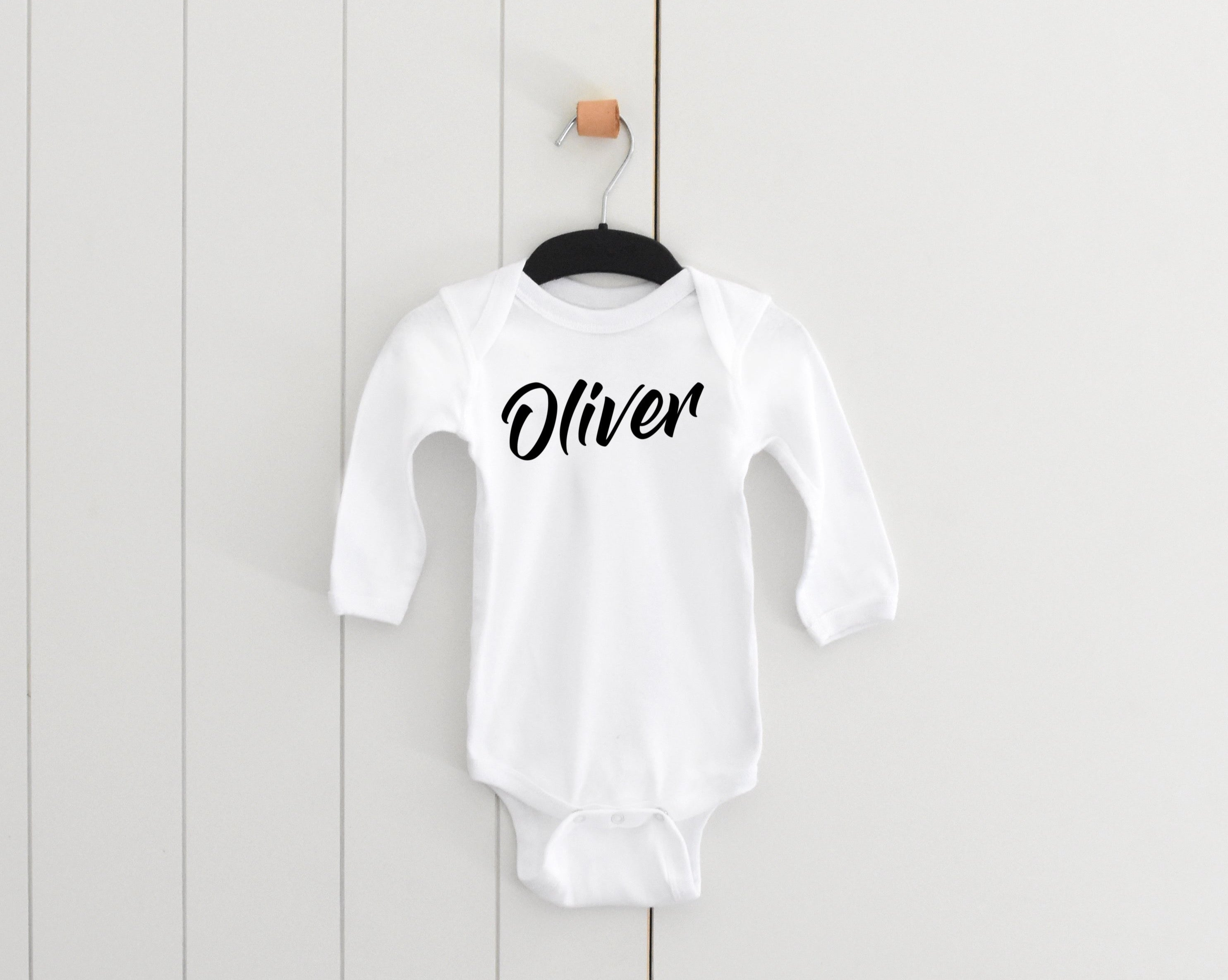 Modern font personalised long sleeve bodysuit • size 0000 • 1