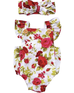 Rose romper with matching headband | size 6m - 24m