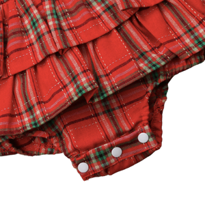 Red tartan romper with matching headband | size 6m - 18m