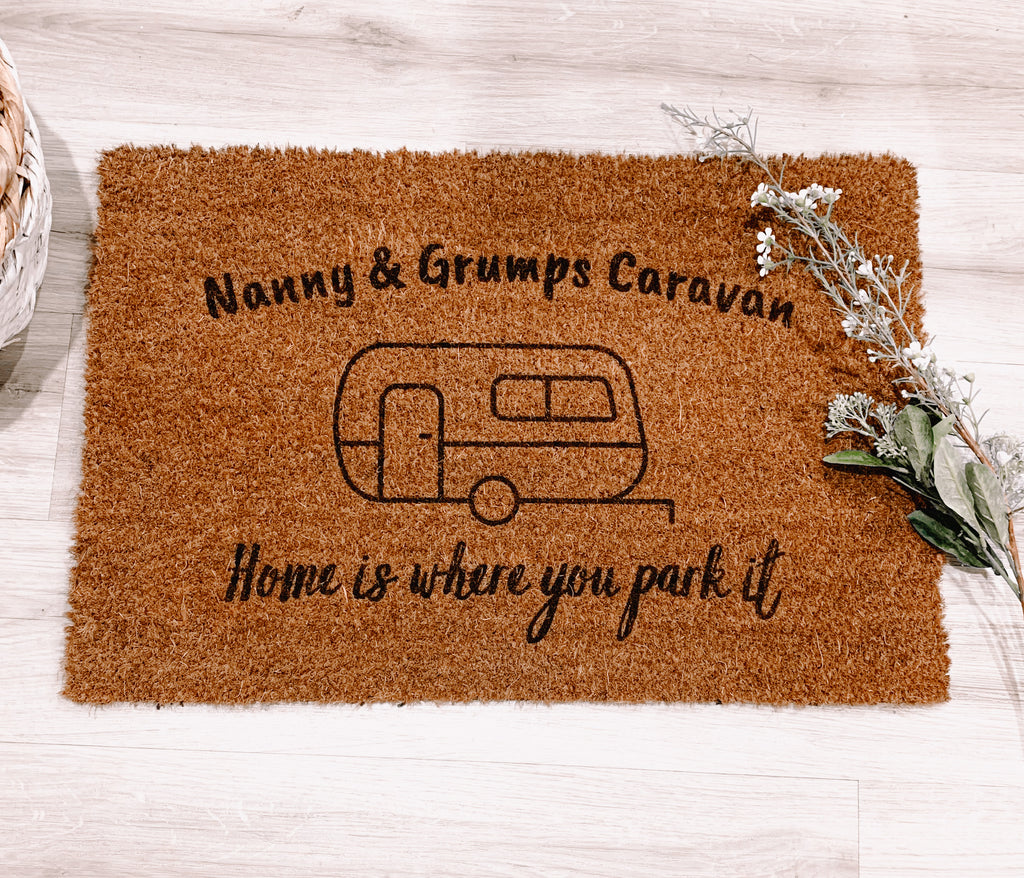 Caravan doormat - home is where you park it