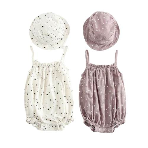 Stary night romper with matching hat | size 3m - 24m