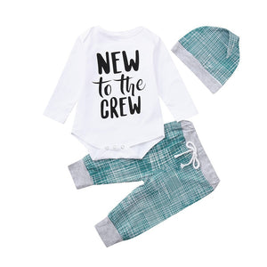 New to the crew romper, pants & hat set | size 3m - 18m