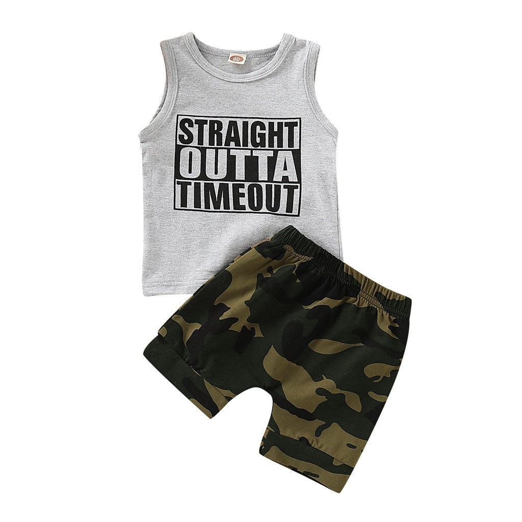 Straight outta timeout tank & shorts | size 12m - 4