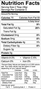 Nutritional facts for Aloha Kick Coconut Oil Vinaigrette Dressing by Tracy's Gourmet