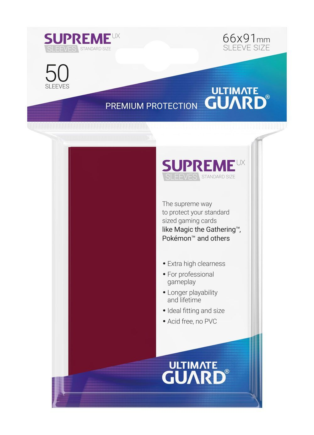 Ultimate Guard Supreme Sleeves Burgundy - 50 Count