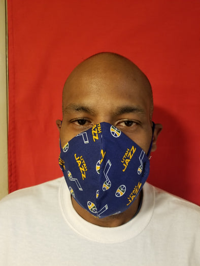 Reusable double insert team mask Utah Jazz 100% cotton