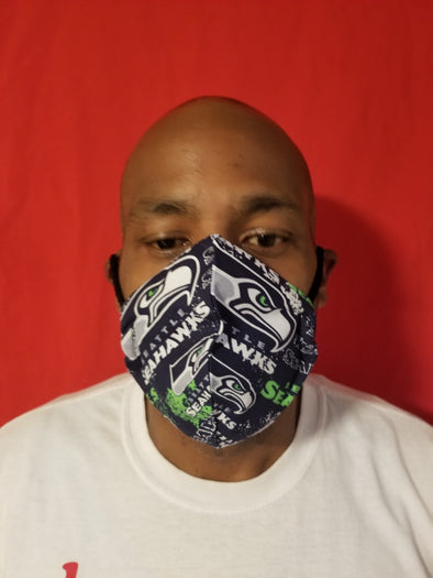 Reusable double insert team mask Seattle Seahawks 100% cotton
