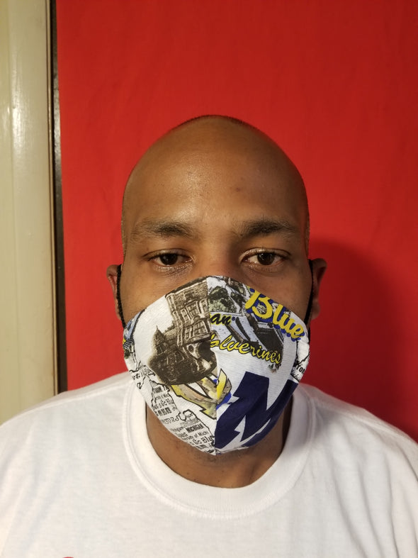 Reusable double insert team mask Michigan 100% cotton