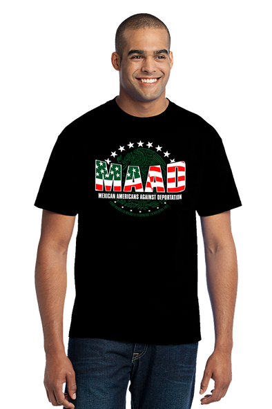 Awareness brand MAAD Mexican against deportation mens t-shirt