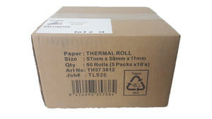 Eftpos Thermal Paper Rolls 57mm wide - 50 rolls