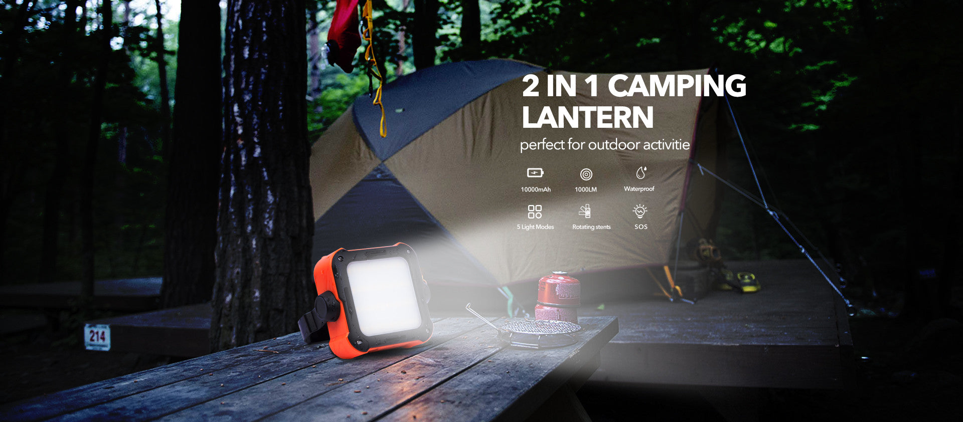 Rockpals 2 In 1 Led Camping Lantern