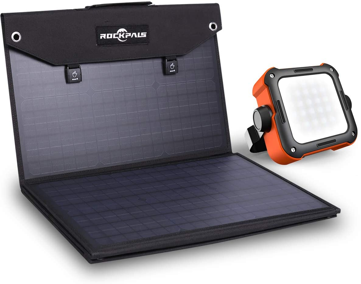 Rockpals 100W Foldable Solar Panel + Led Camping Lantern