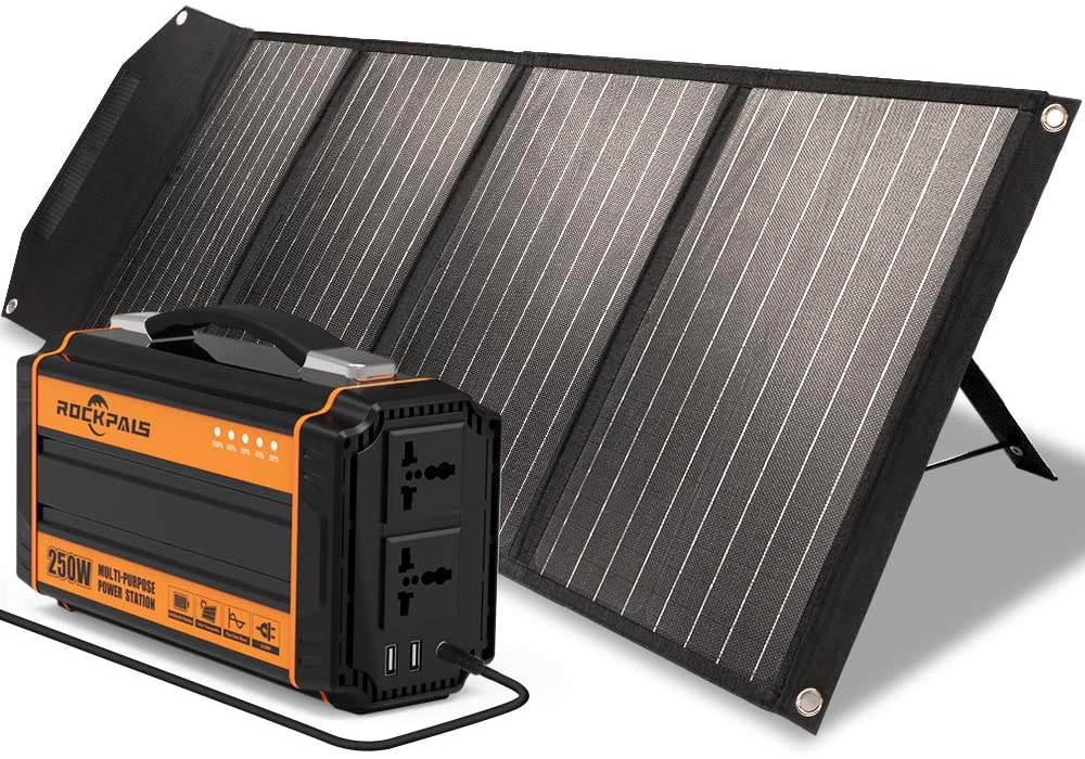 Rockpals 250W Portable Power Station + Rockpower 100W Solar Panel Kits