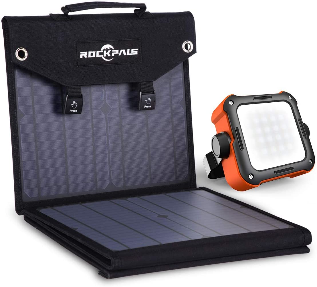 Rockpals 60W Foldable Solar Panel + Led Camping Lantern