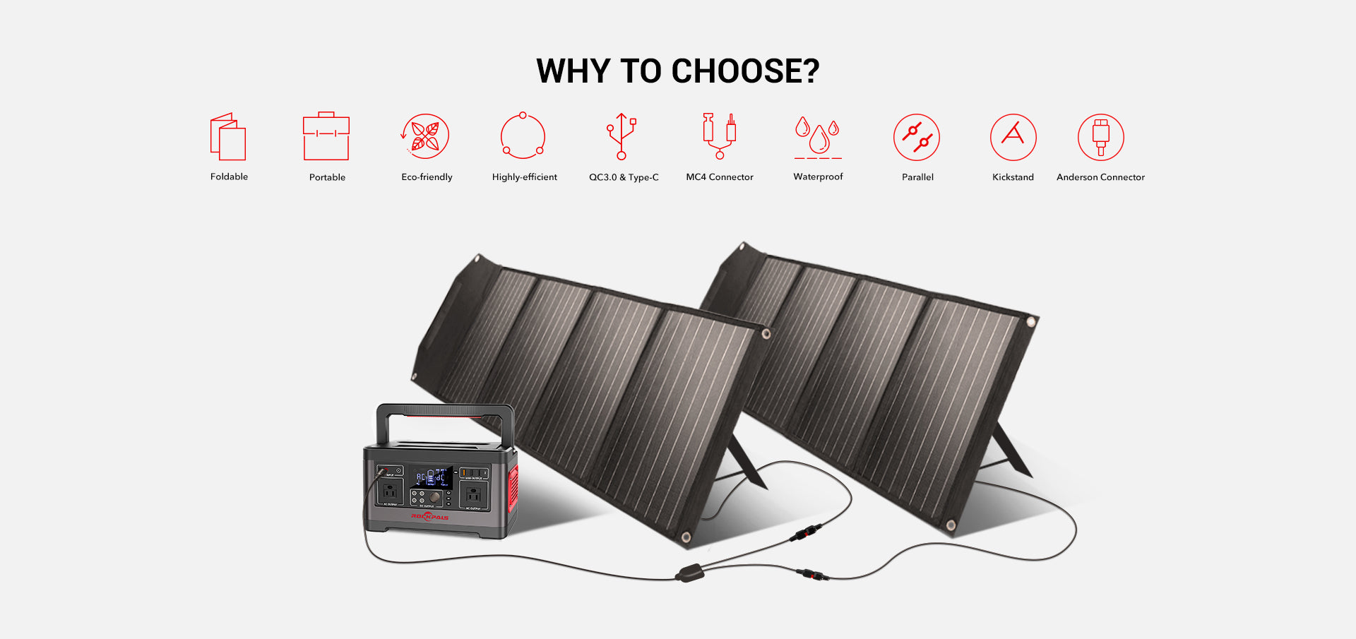 Rockpower 100W Portable Solar Panel Features