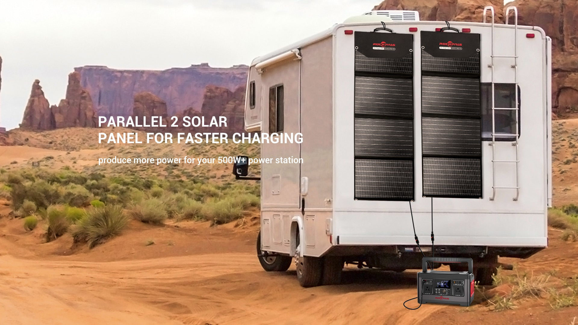 Rockpower 100W Portable Solar Panels in parallel