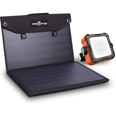 Rockpals 100W Foldable Solar Panel + Led Camping Lantern Kits