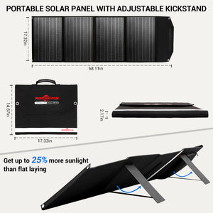 Rockpals 100W Foldable Solar Panel with Adjustable Kickstand