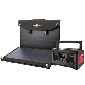 Rockpals 500W/520WH Power Station + 100W Solar Panel Kits