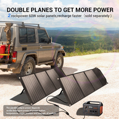 Rockpals 60W Portable Solar Panel Charger in parallel