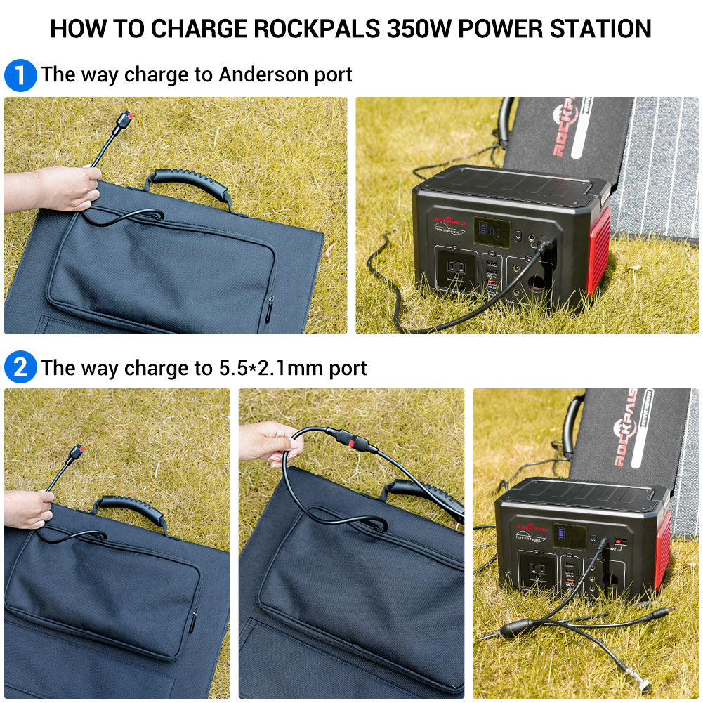 Rockpals 60W Portable Solar Panel Charger to charge up Rockpals 350W power station