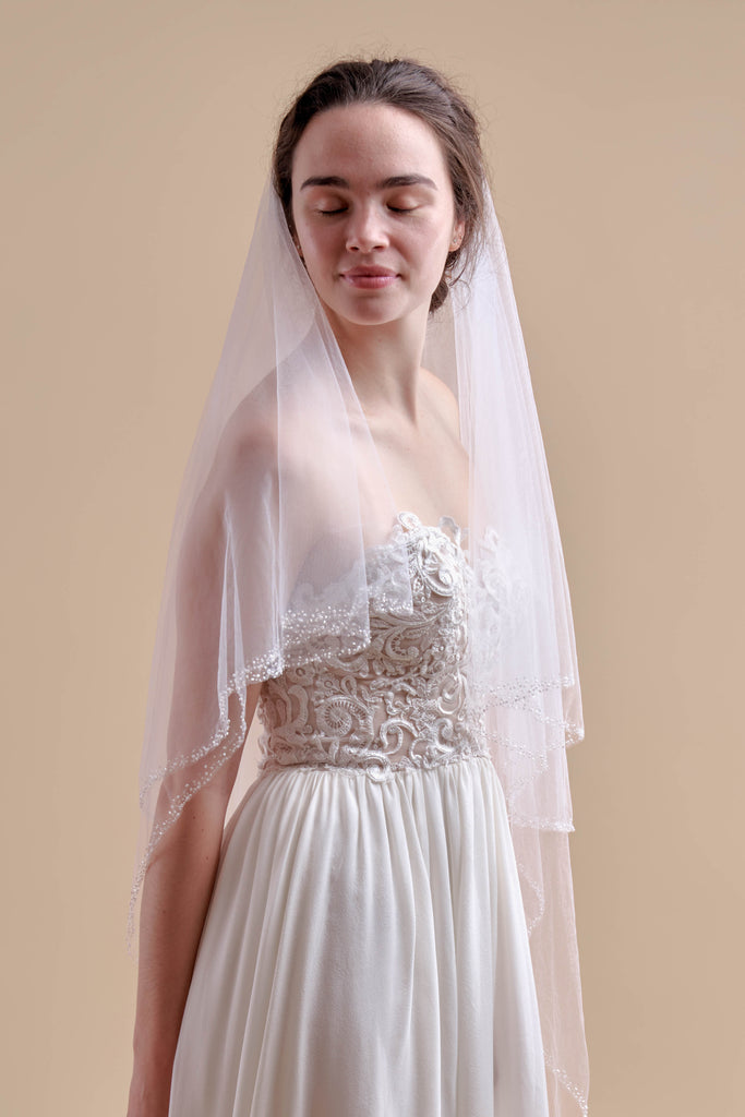 Hint of Sparkle Wedding Veil - double tier, court