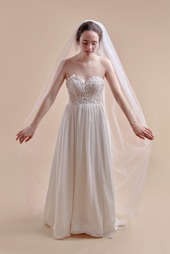 Hint of Sparkle Wedding Veil - single tier, court