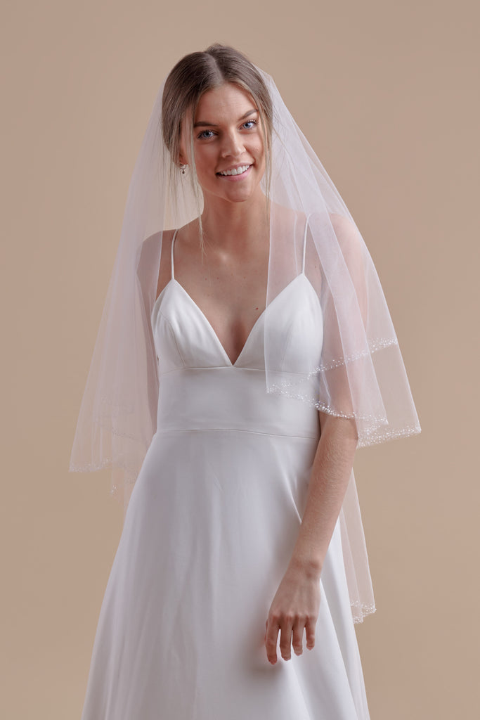 Hint of Sparkle Wedding Veil - double tier, fingertip