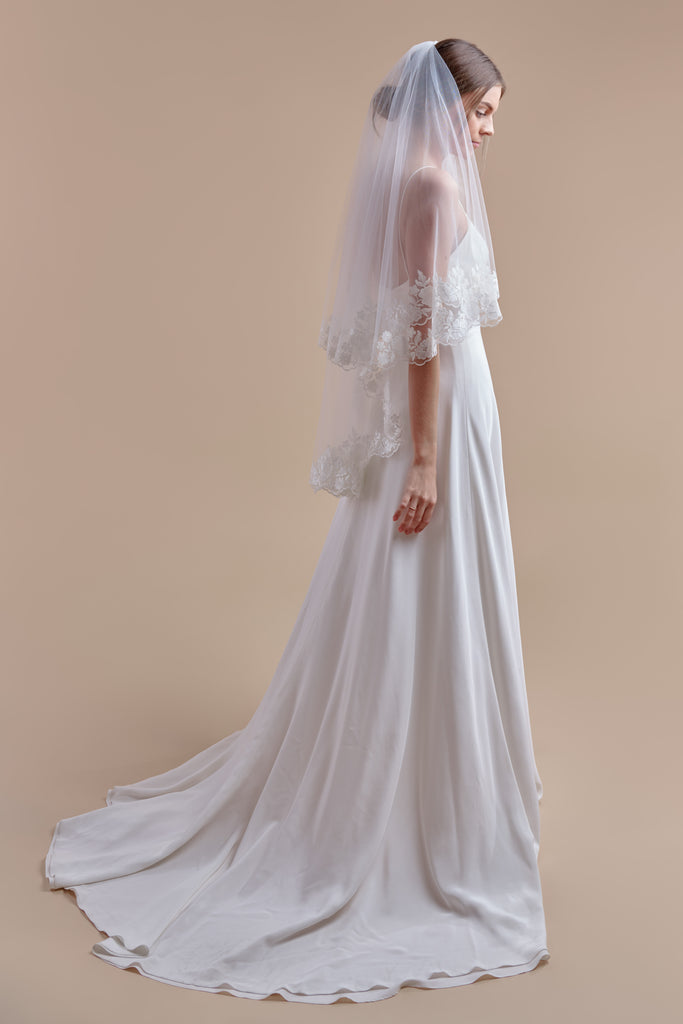 Oopsie Daisy Wedding Veil - double tier, fingertip
