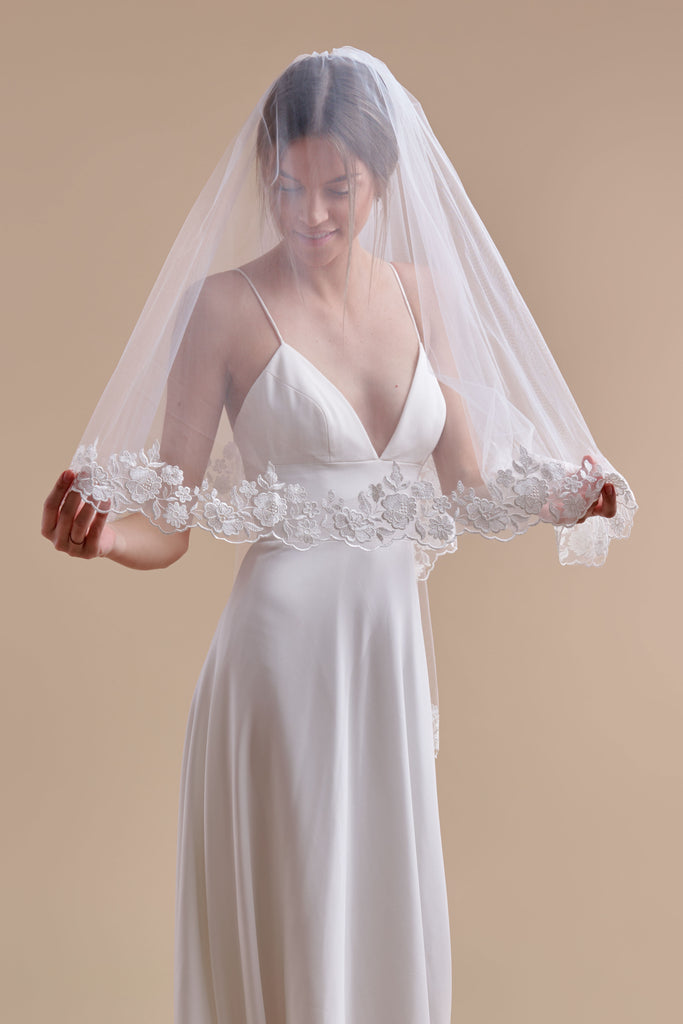 Oopsie Daisy Wedding Veil - double tier, cathedral