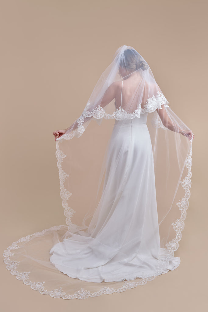 Simply Scalloped Wedding Veil - double tier, cathedral