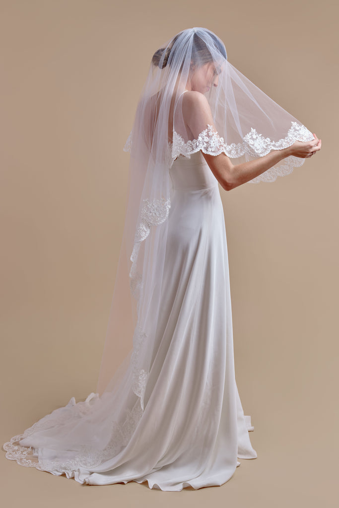 Simply Scalloped Wedding Veil - double tier, court