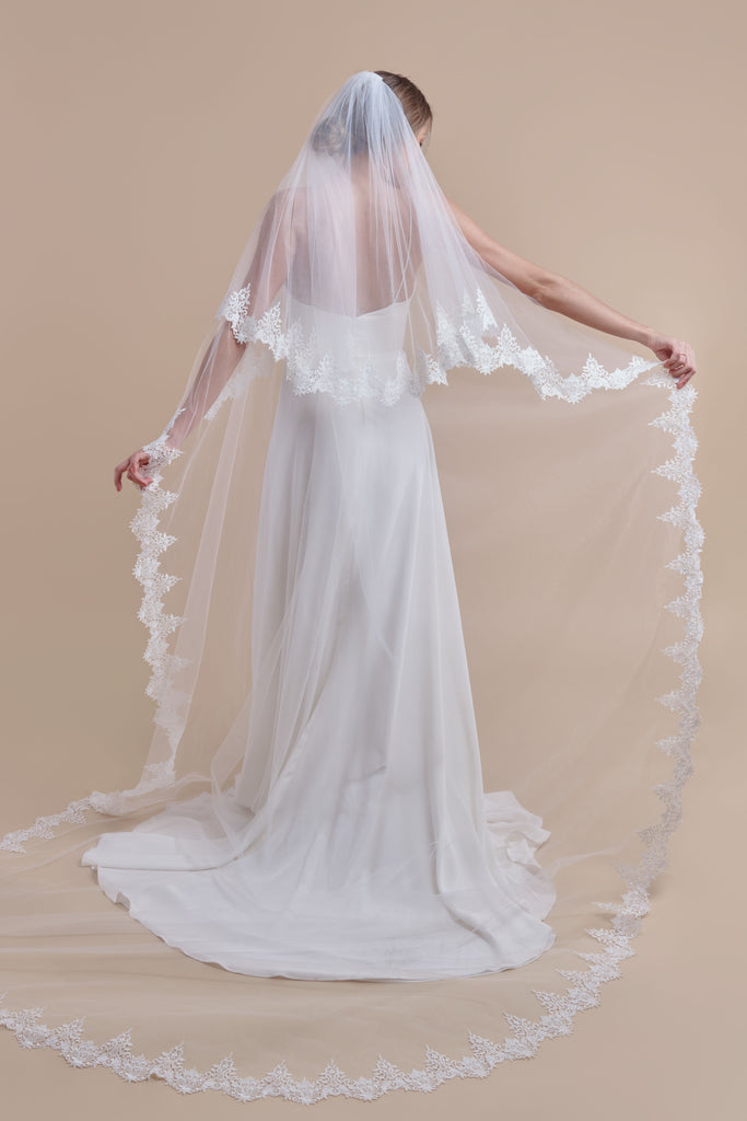 Vintage Vines Wedding Veil - double tier, cathedral
