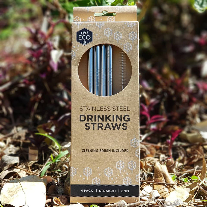 Ever Eco Stainless Steel Drinking Straws  (4 Pack) - The Vale Eco Packs