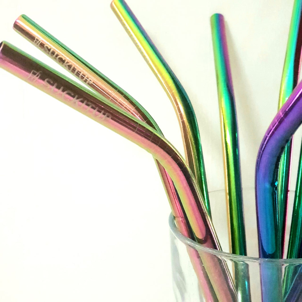 Suck It Up Rainbow Straws (Bent) - The Vale Eco Packs Eco Gift Packs and Eco Products