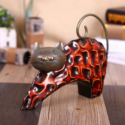 Lazy Cat Metal Figurine Art Iron Sculpture - Cheap Gear Here
