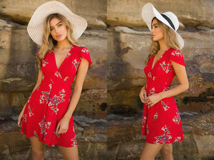 Floral Print Boho Summer Dress Women Sexy V Neck Short Sleeve Mini Dresses Femme Casual Beach Short Dress vestidos - onemagic