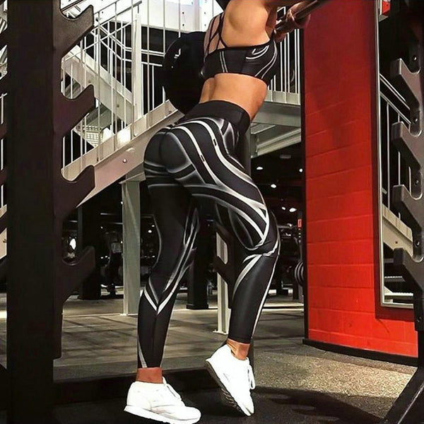 Moda mujer streamer Impresión digital negro Leggings Ladies Workout Pantalones estrechos Jeggings sexy cadera alta cintura delgada Leggings - onemagic