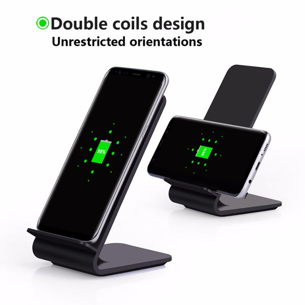 Qi Fast Wireless Charger 10W 2Coil Wireless Fast Charger for Iphone 8 X Sansung S8 + Wireless Charger Receiver for SmartPhone - onemagic