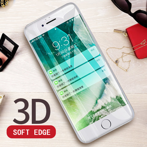 RZP 3D Curved Edge Full Cover Screen Protector For iPhone 7 6S 8 Tempered Glass On The For Apple iPhone 6 s 7 8 Plus Glass Film - onemagic