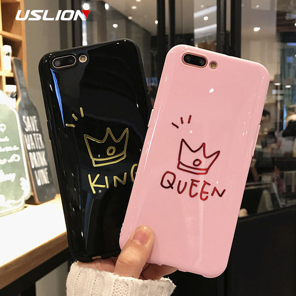 USLION Glossy Crown Phone Case For iPhone 6 6s Plus Letter KING QUEEN Back Cover Soft TPU Cases For iPhone X 8 7 6S Plus Coque - onemagic