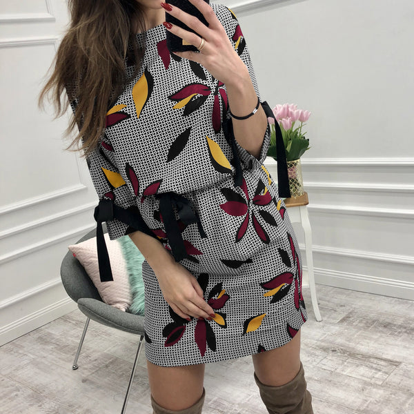 Women Floral Printed Dresses Kawaii Girl Sweet Bow O-neck Mini Sundress Fashion Summer Party Dress Beach Casual Plus Size GV046