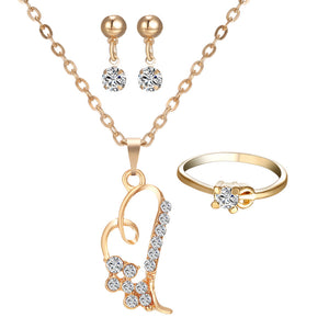 Fashion Necklace Earrings Rings Jewelry Sets gold color Crystal Love Heart Wedding - onemagic