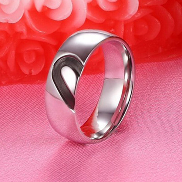 Wedding Ring for Women Men Silver Color Stainless Steel Love Ring Zirconia Heart Couple Alliance Engagement - onemagic
