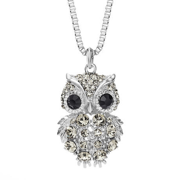 Retro Antique Alloy with Rhinestone Crystal Owl Long Necklace GD - onemagic