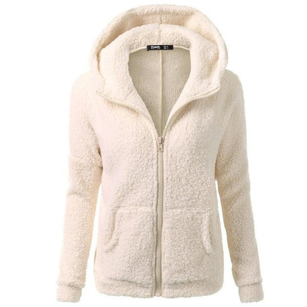 FEITONG Women Hooded Sweater Coat Winter Warm Wool Zipper Coat Fashion Pockets Cotton Thick Coat Outwear Plus Size S~5XL#3 - onemagic