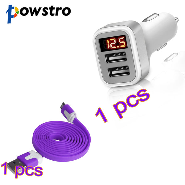 Powstro 5V 2.1A Dual USB Port Car Charger Car Adapter with LED Display+1m/3.3ft High Speed Noodle USB 2.0 Cable For Samsung S6 - onemagic